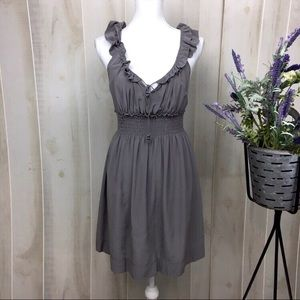 Floreat Grey Silk Flared Dress